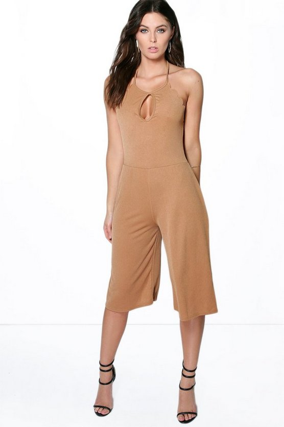 Womens Camel Shelley Scallop Edge Halterneck Culotte Jumpsuit