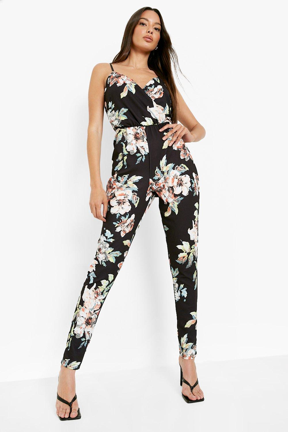 7764b56926e Womens Multi Floral Print Cami Wrap Strappy Jumpsuit. Hover to zoom