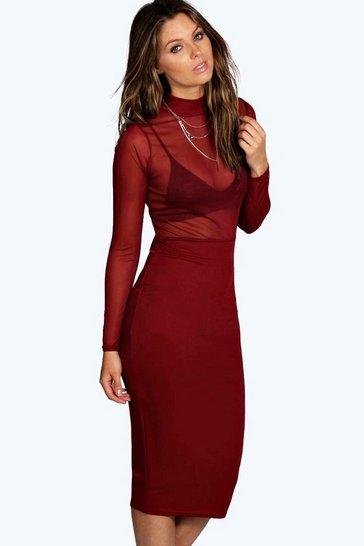 Womens Berry Gabriella High Neck Mesh Midi Bodycon Dress