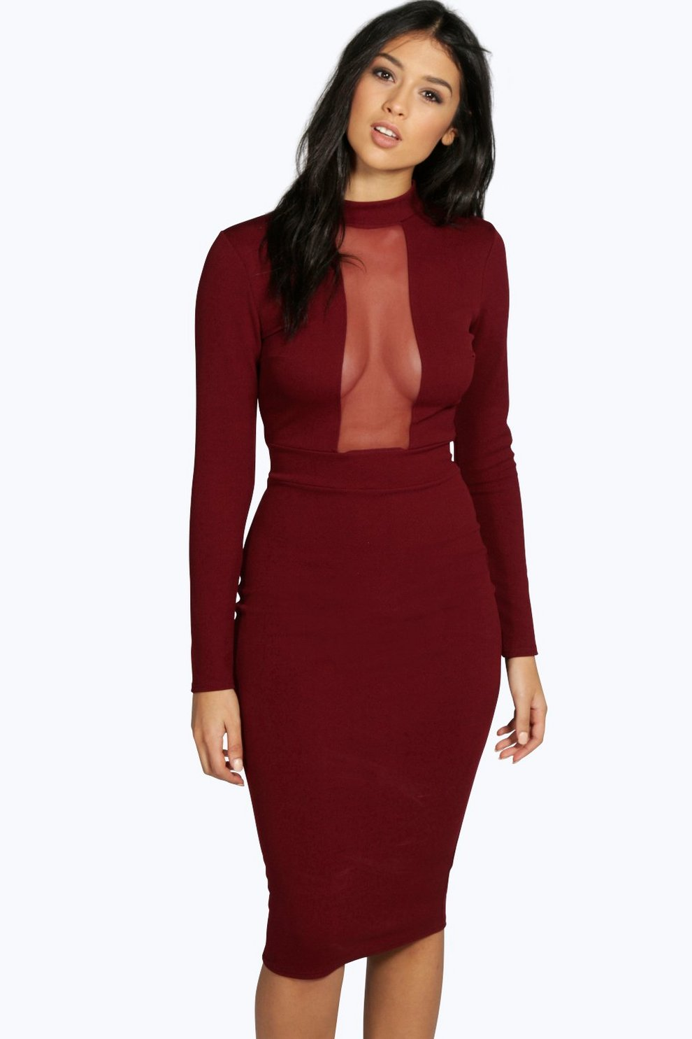 93c7133f4fe3 Ana Mesh Panel Long Sleeve Midi Bodycon Dress | Boohoo