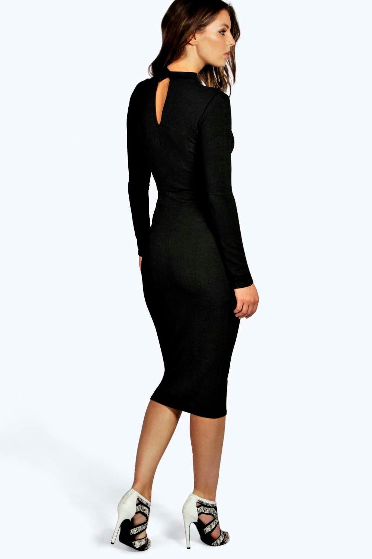 1e6804294084 Boohoo Womens Ana Mesh Panel Long Sleeve Midi Bodycon Dress