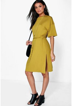 Womens Olive Anna Split Tie Shift Midi Dress