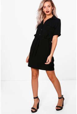 Womens Black Daisy Tie Waist Shirt Skater Dress