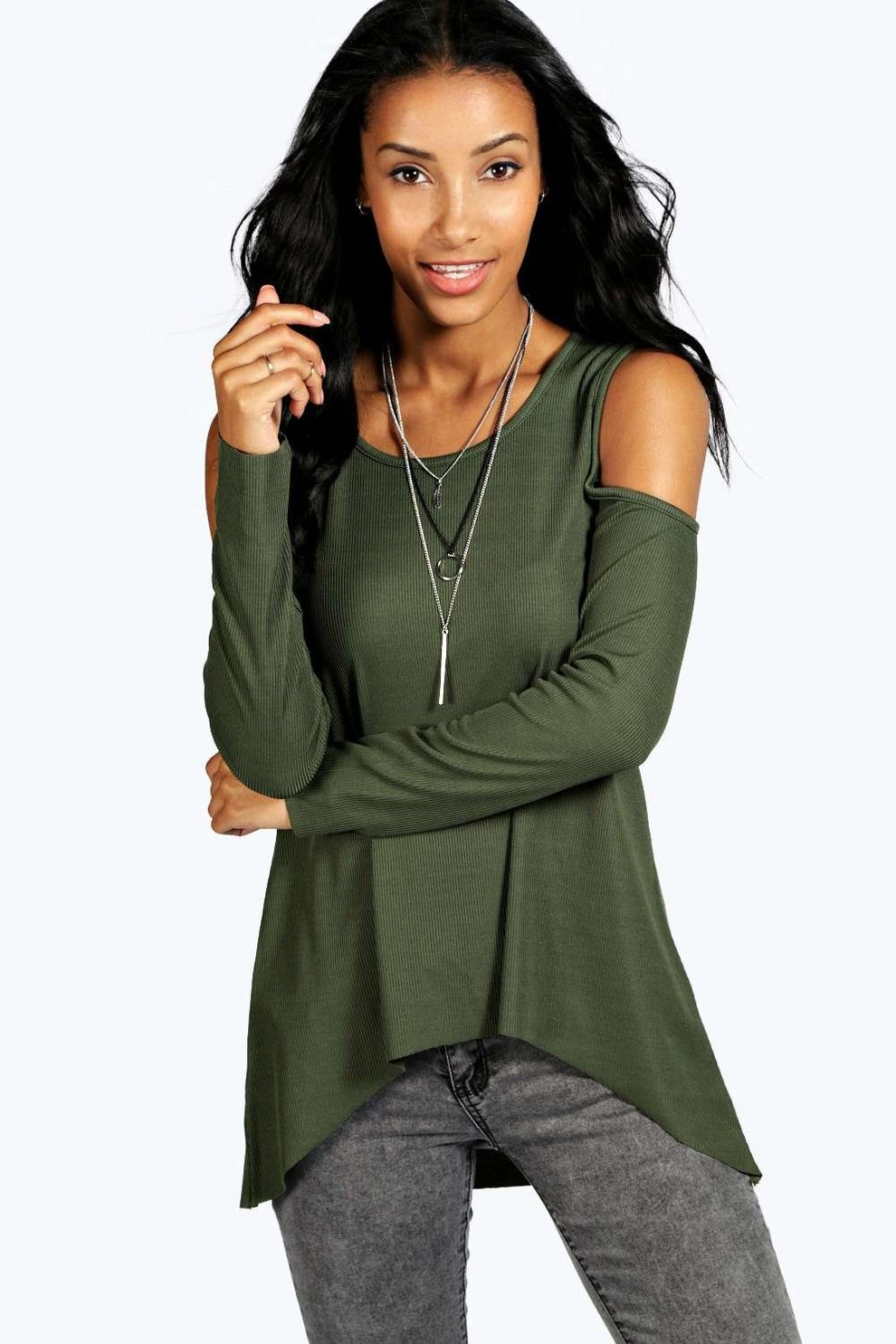 2554e74852490f Ribbed Cold Shoulder Long Sleeve Top