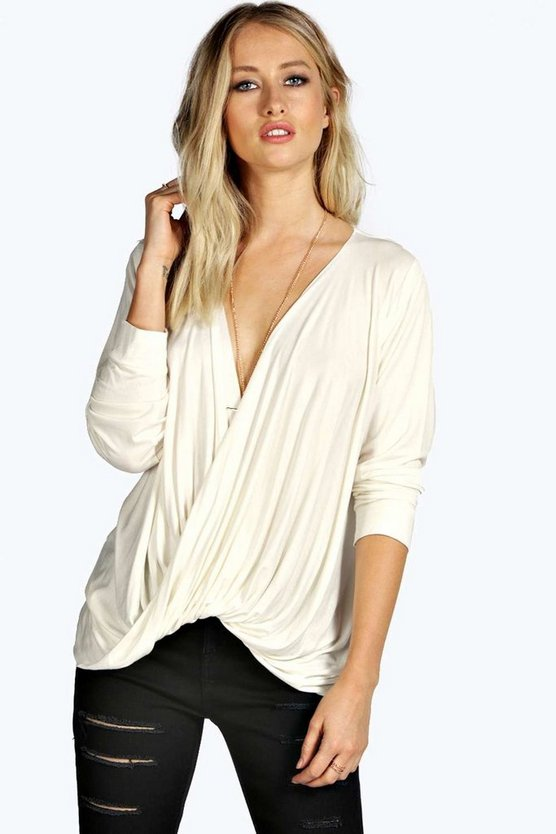 Plunge Neck Drape Long Sleeved Top