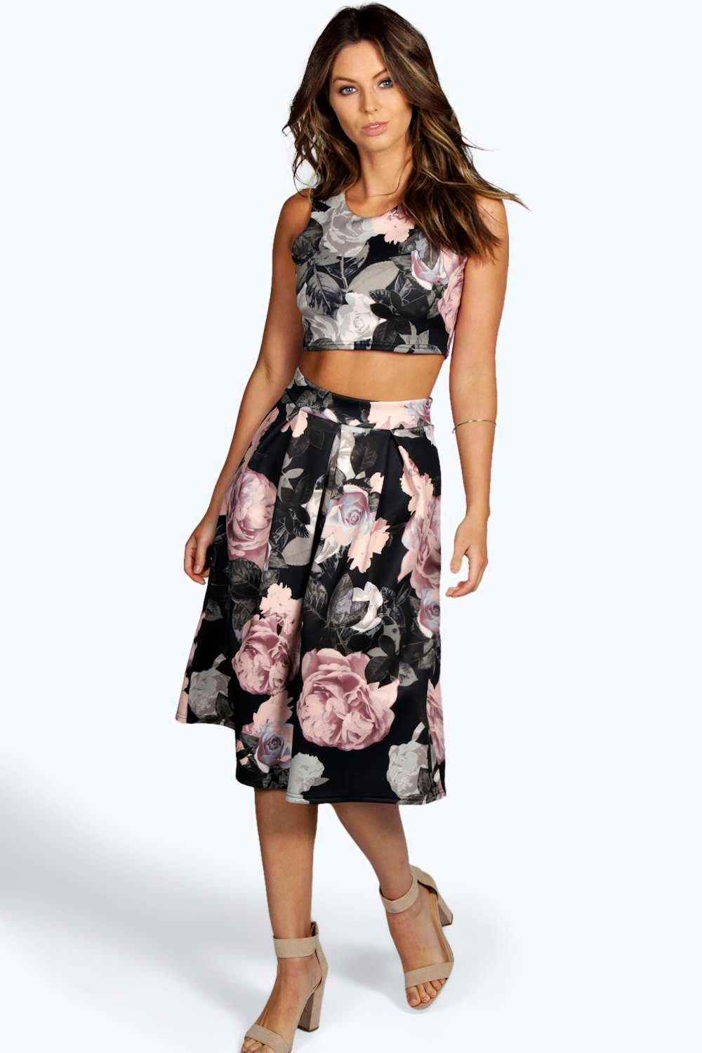 03c7d16364b1 Suzan Floral Box Pleat Midi Skirt Co-Ord Set | Boohoo
