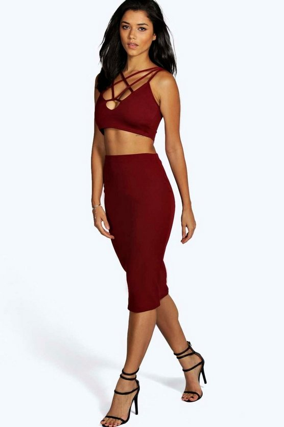 Womens Berry Bella Strappy Plunge Front Midi Co-Ord Set