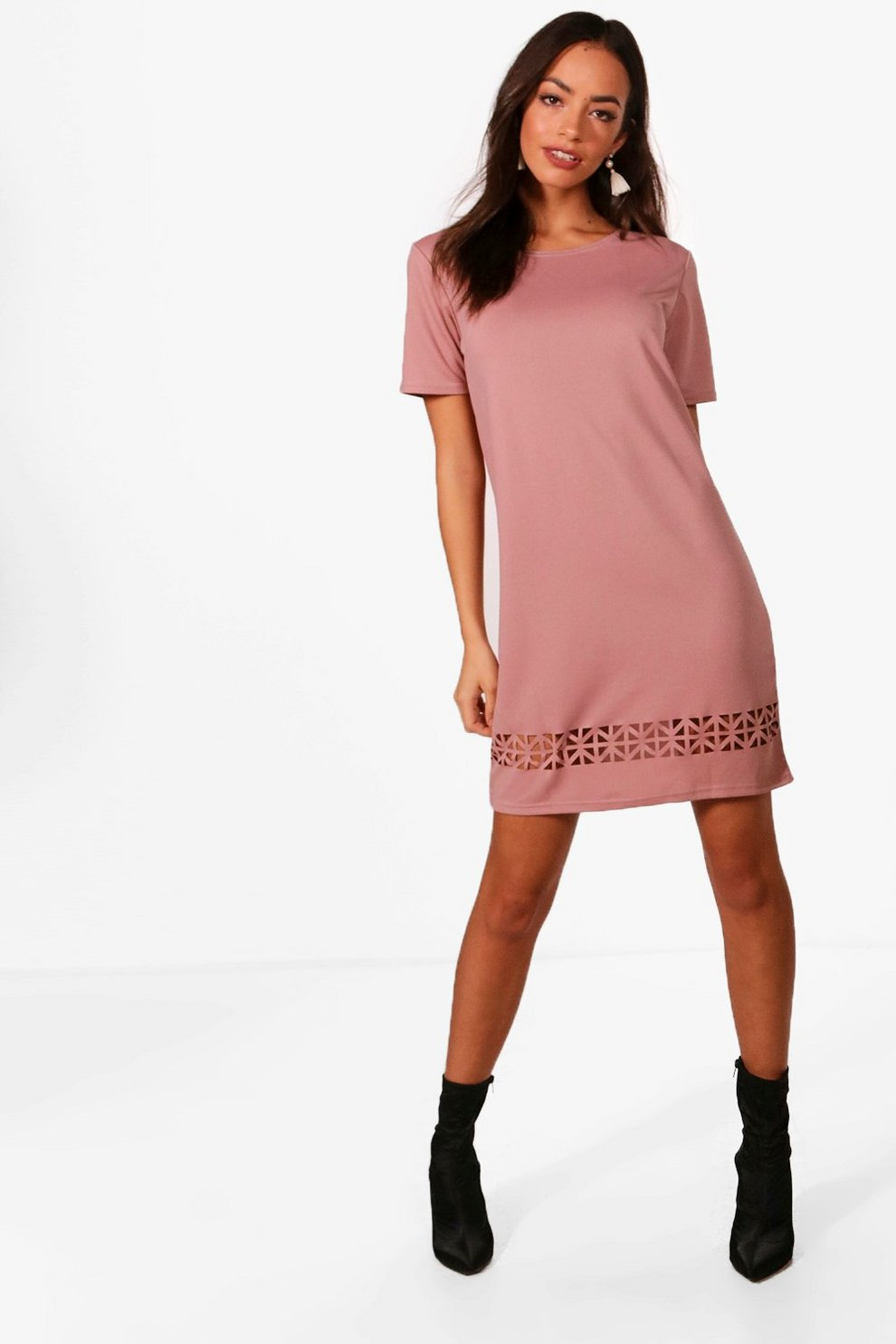 bfd01b06cf12 Womens Mauve Laser Cut Shift Dress
