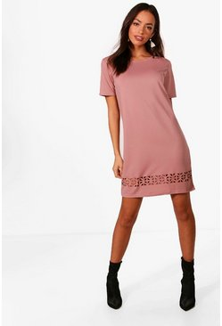 Womens Mauve Laser Cut Shift Dress