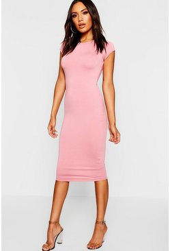 Antique rose Cap Sleeve Jersey Bodycon Midi Dress