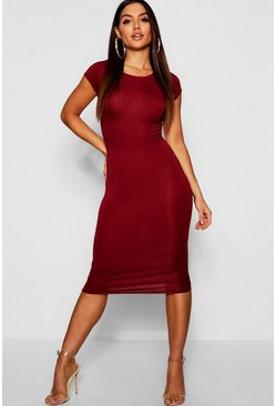 Womens Berry Cap Sleeve Jersey Bodycon Midi Dress