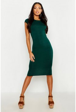 Womens Bottle Cap Sleeve Jersey Bodycon Midi Dress