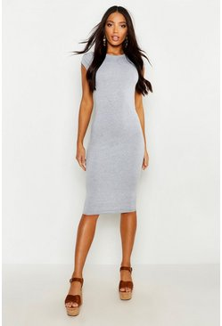 Grey marl Cap Sleeve Jersey Bodycon Midi Dress