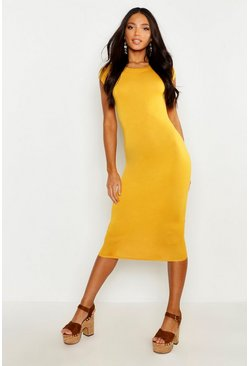 Mustard Cap Sleeve Jersey Bodycon Midi Dress