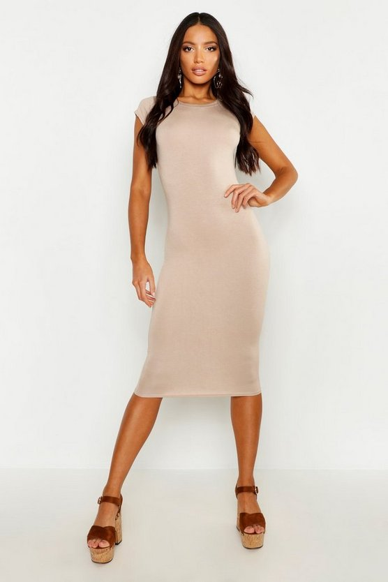 Womens Sand Cap Sleeve Jersey Bodycon Midi Dress