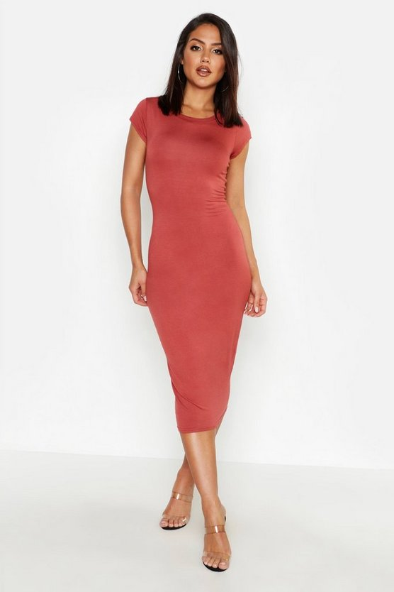 Womens Terracotta Cap Sleeve Jersey Bodycon Midi Dress