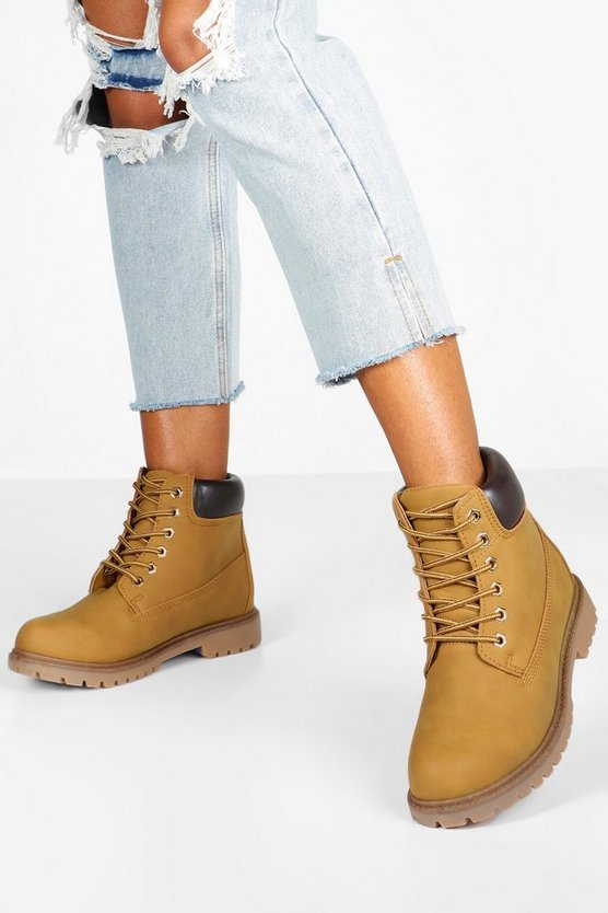 Beige Padded Cuff Lace Up Hiker Boots