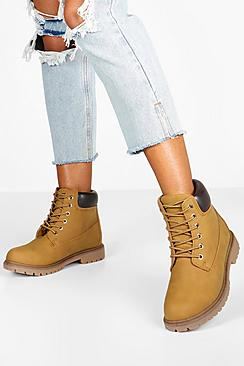 Padded Cuff Lace Up Hiker Boots