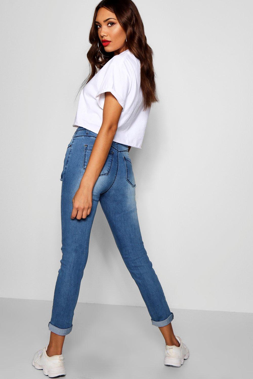 muslos skinny Jeans oscuro medio azul desgastados de talle con wFxqHxBXR