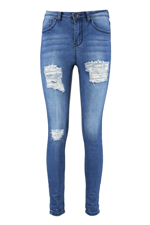 azul con medio desgastados muslos Jeans skinny talle oscuro de zqRw6vUB