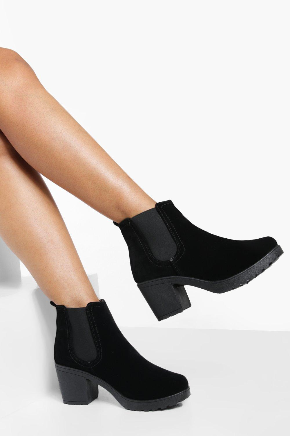 6ed40091887b Womens Black Block Heel Suedette Chelsea Boots. Hover to zoom