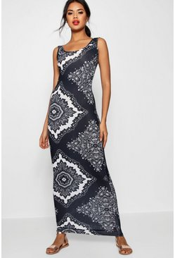 Womens Multi Mono Paisley Scoop Neck Maxi Dress