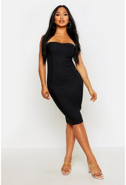 Womens Black Bandeau Contouring Bandage Midi Bodycon Dress
