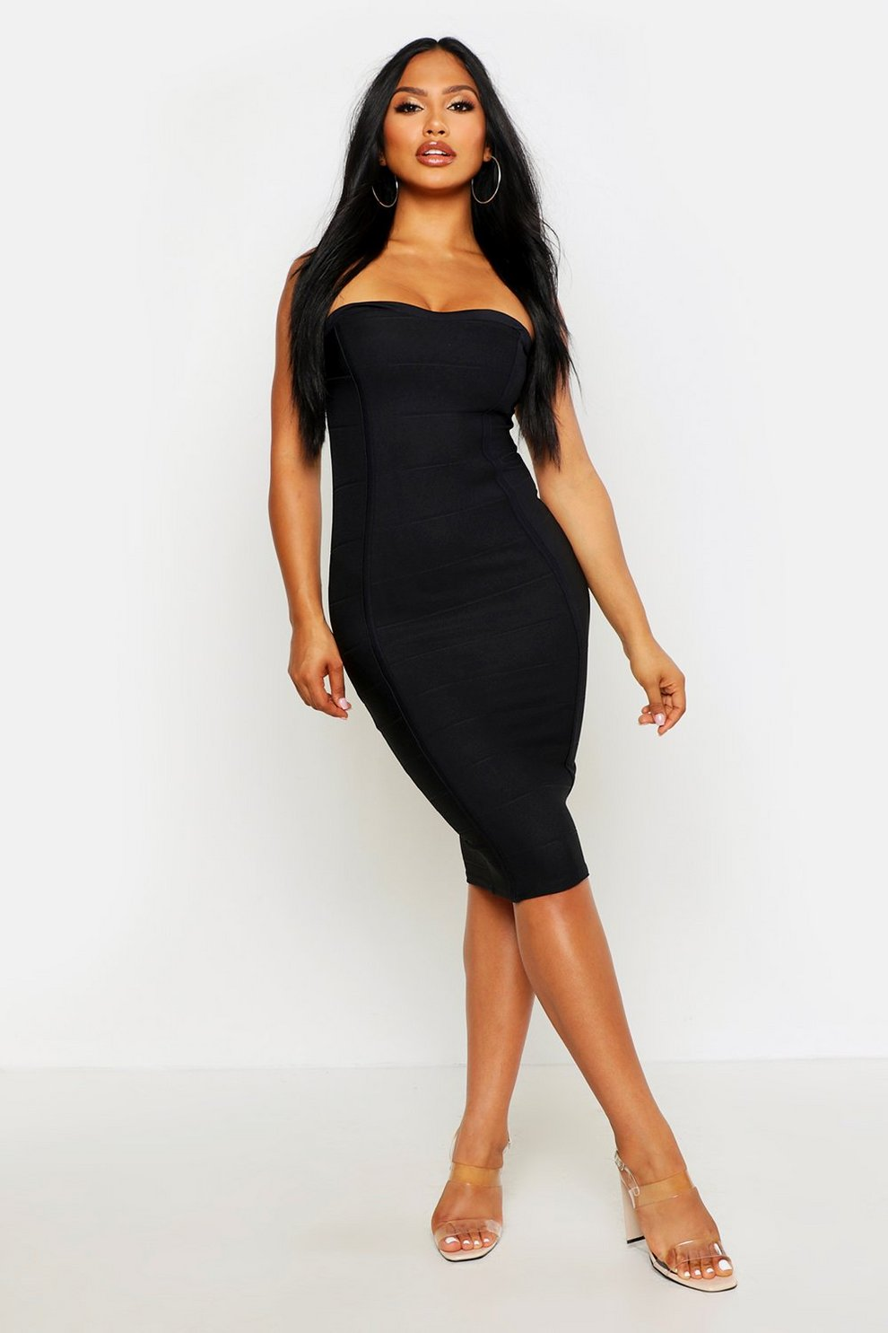 e59981be36d6 Womens Black Bandeau Bandage Midi Bodycon Dress