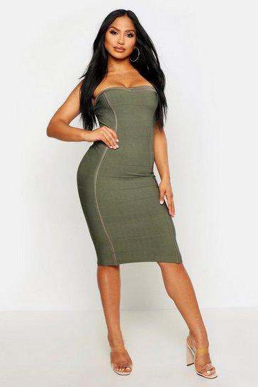 Khaki Bandeau Contouring Bandage Midi Bodycon Dress