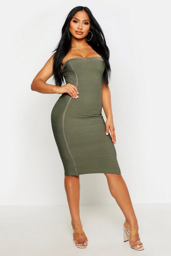 Womens Khaki Bandeau Bandage Midi Bodycon Dress