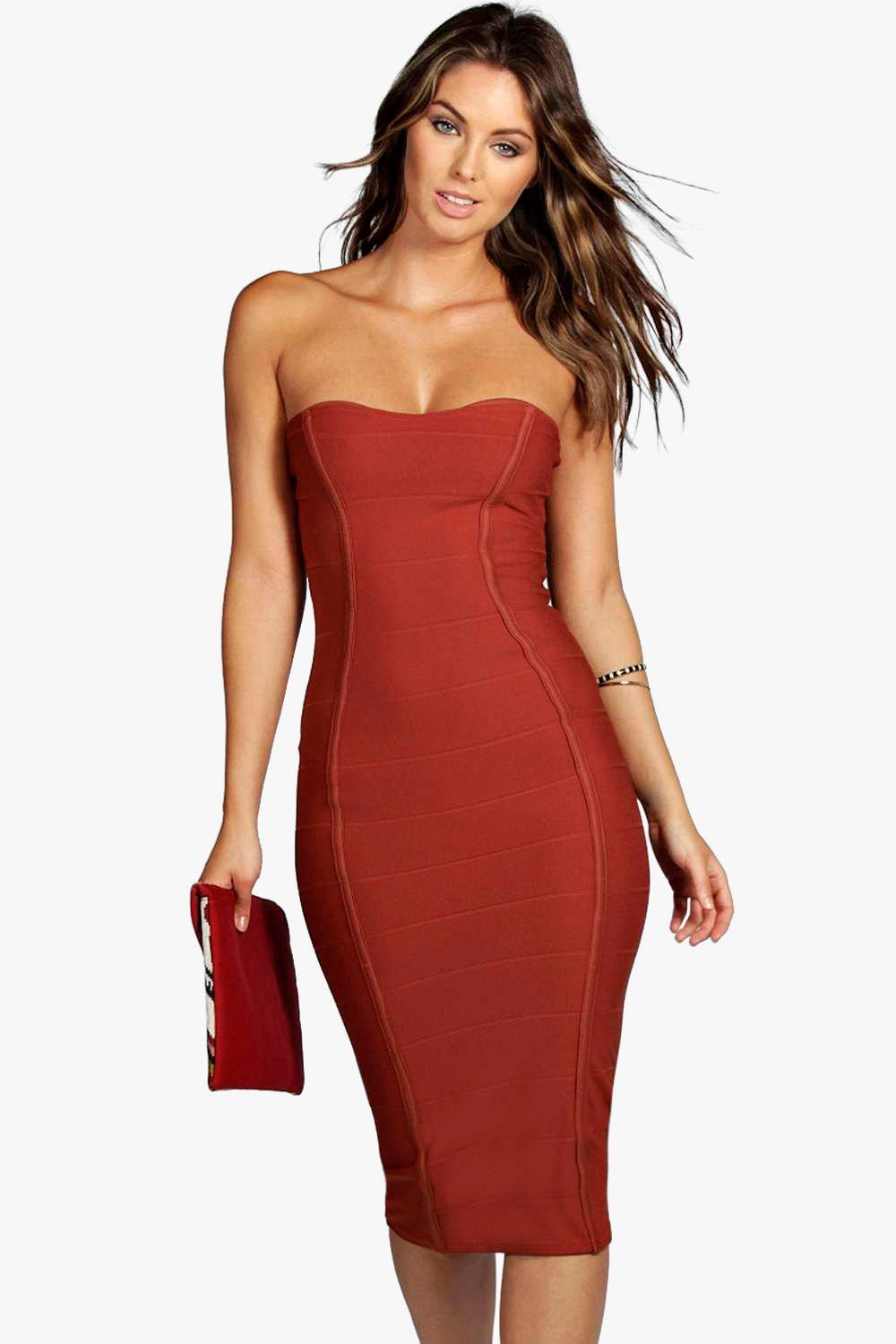 9f3c2dc9e998 Bandeau Bandage Midi Bodycon Dress | Boohoo