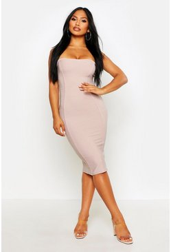 Womens Sand Bandeau Contouring Bandage Midi Bodycon Dress