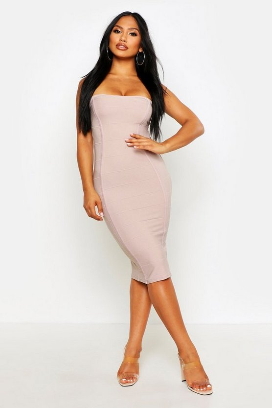 Womens Sand Bandeau Bandage Midi Bodycon Dress
