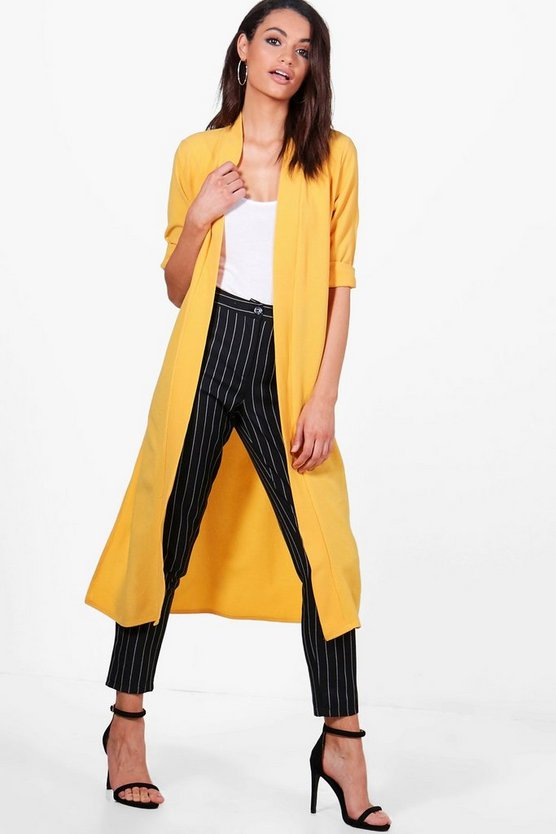 Womens Mustard Turn Up Cuff Duster Coat