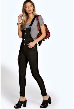 Womens Black Button Front Slim Fit Denim Dungarees