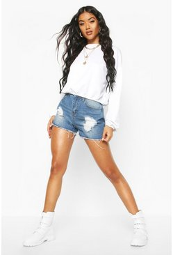 Womens Dark blue High Waist Distressed Denim Mom Shorts