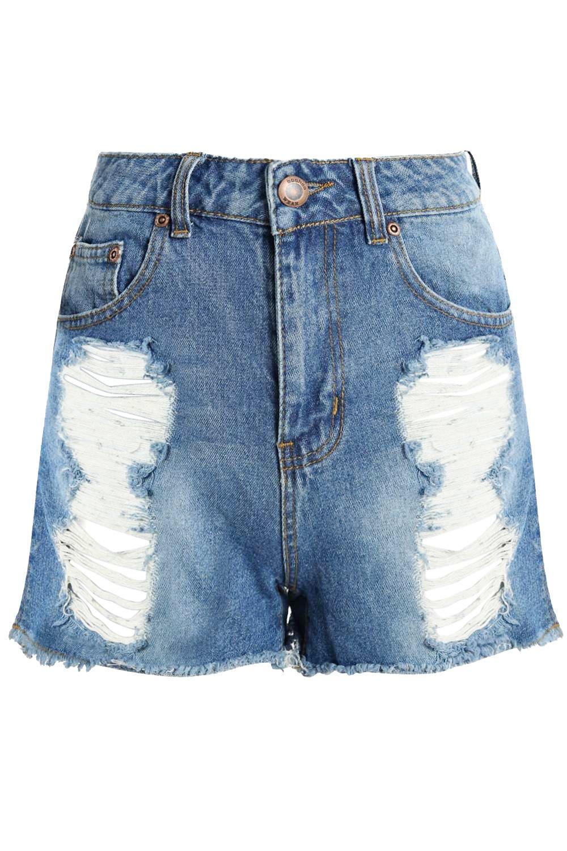 estilo cintura Pantalones con mom cortos oscuro alta azul desgastados denim 6wRERBYq
