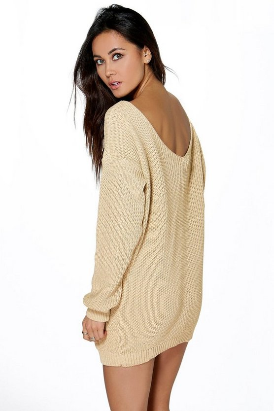 V Back Jumper Mini Dress