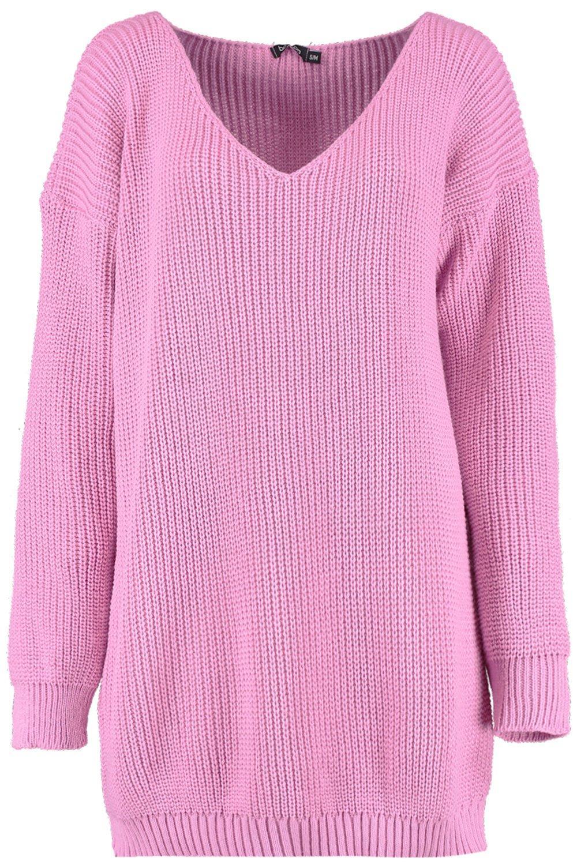 baby Minivestido pico pink cuello estilo suéter de con 8Rwq7v