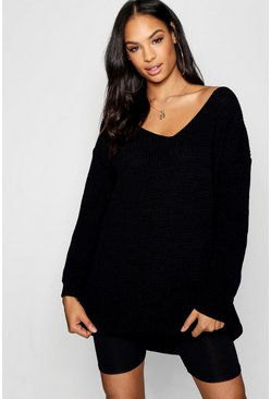 Womens Black V Neck Jumper Mini Dress
