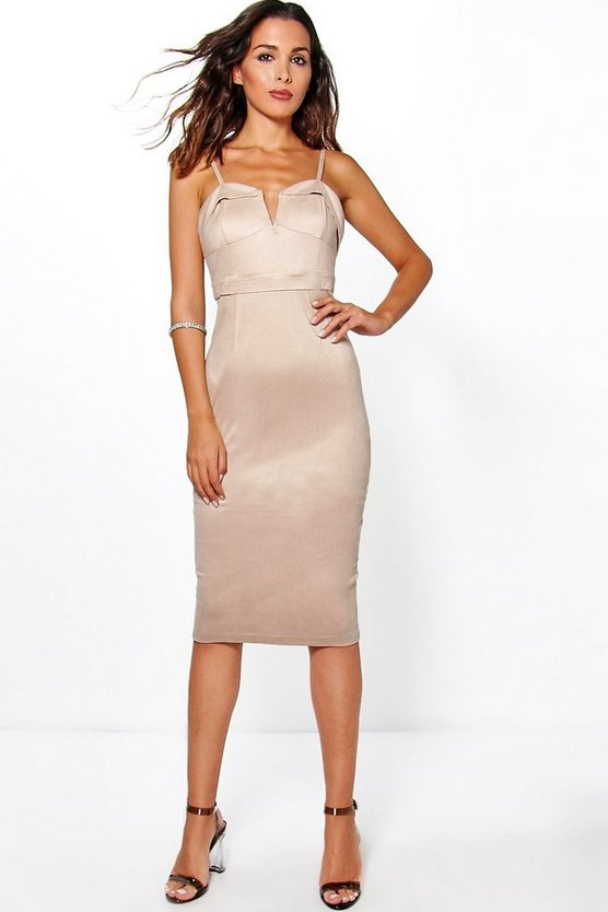 Boutique Violeta Suedette Plunge Bodycon Dress