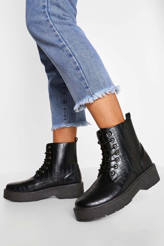 Womens Chunky Platform Hiker Boots - Black - 3