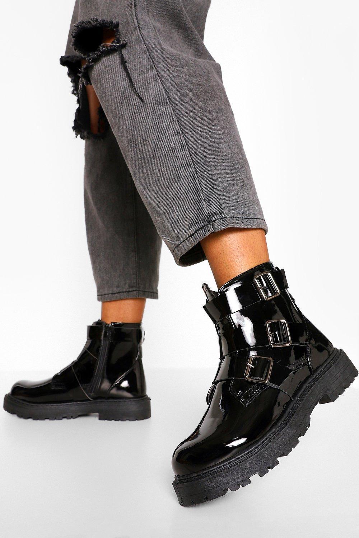 Womens Wide Fit Triple Buckle Biker Boots - Black - 3, Black