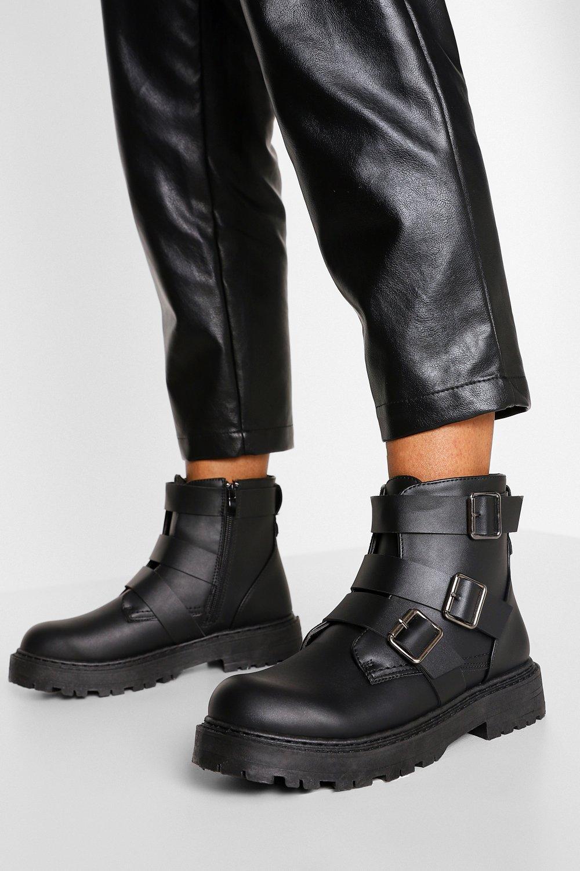 Womens Wide Fit Triple Buckle Biker Boots - Black - 3