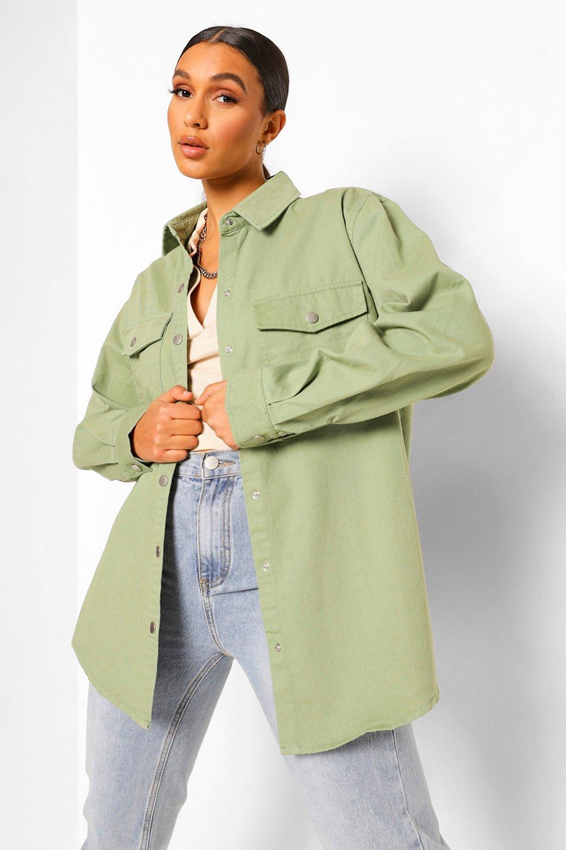 womens denim twill shacket - green - 2