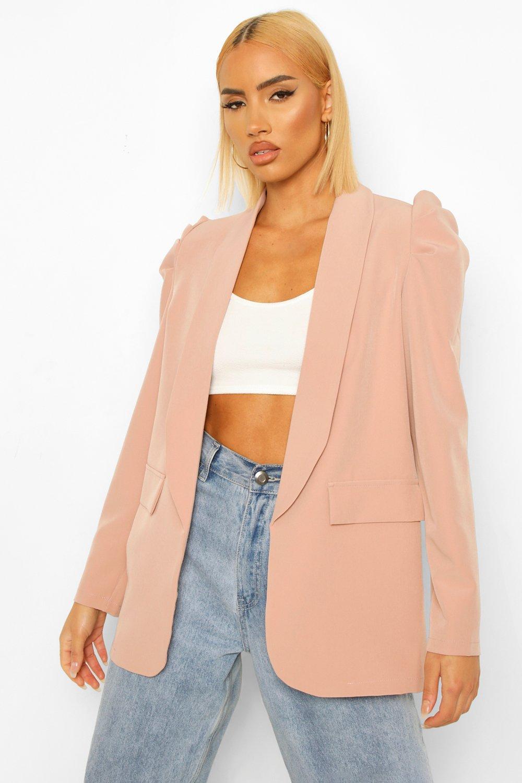 womens ruched shoulder tailored blazer - pink - 6