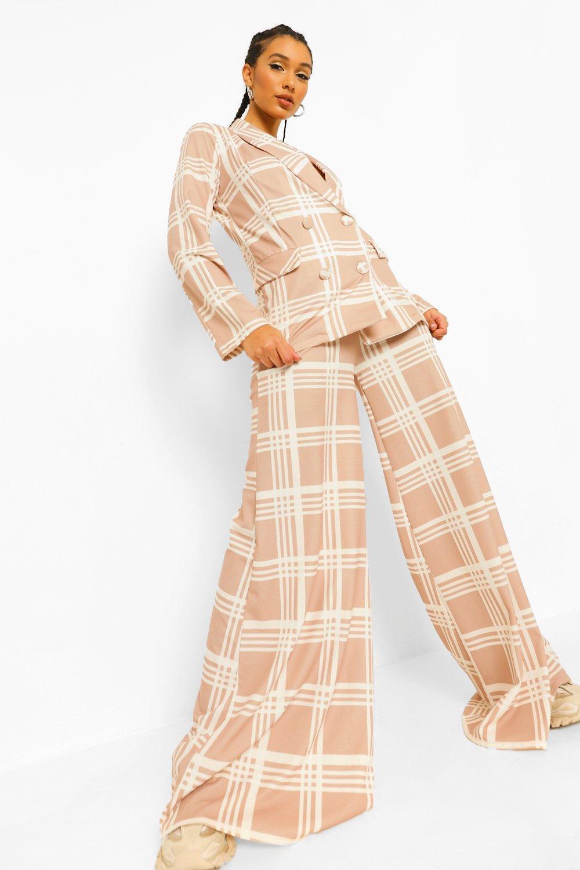 70s Clothes | Hippie Clothes & Outfits Womens Tonal Flannel Slouchy Super Wide Leg Pants - Brown - 10 $10.00 AT vintagedancer.com