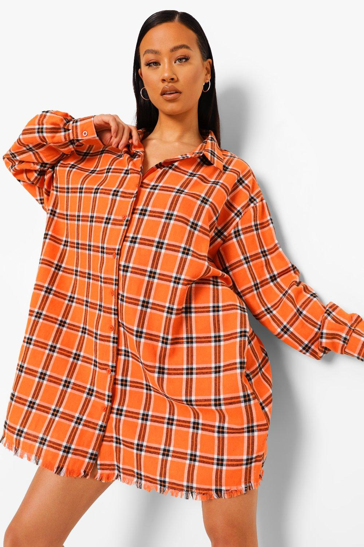 womens butterfly back print flannel oversized shirt dress - orange - 4