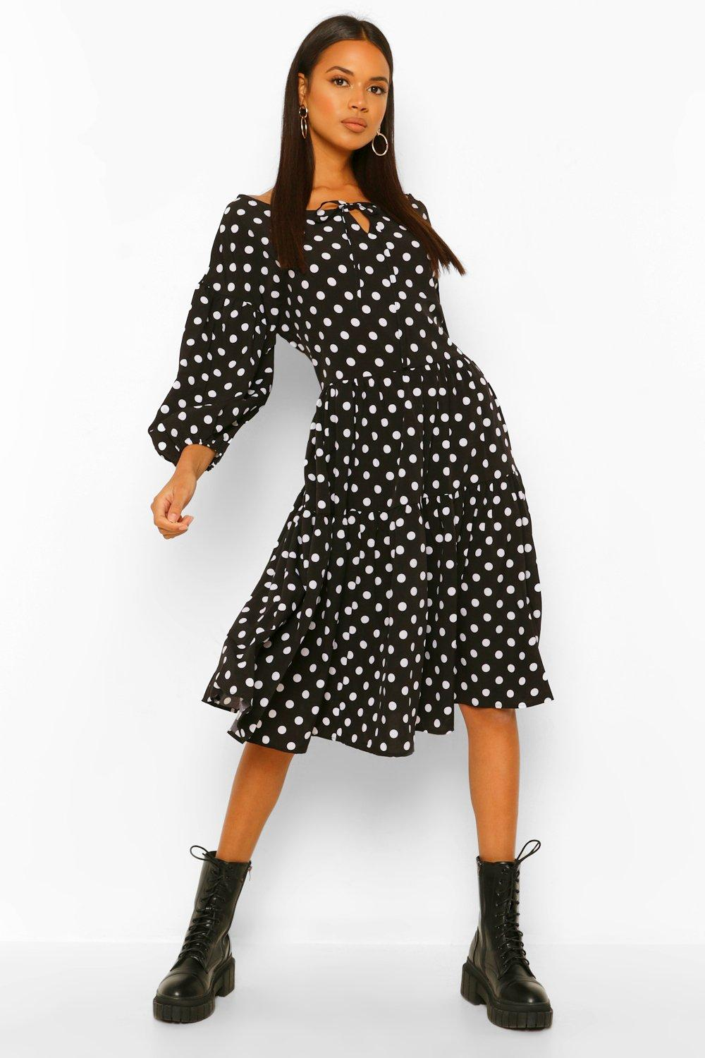 1940s Dress Styles Womens Polka Dot Oversized Midi Smock Dress - Black - 12 $20.00 AT vintagedancer.com