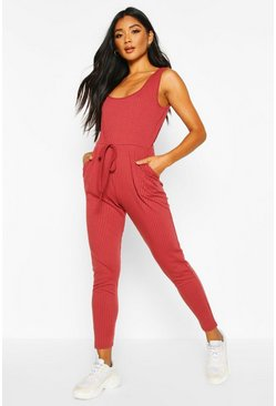 Berry Soft Ribbed Slouch Cami Jumpsuit